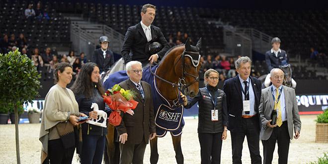 Atome des Etisses remporte le Championnat SHF 6 ans sous la selle de Laurent Goffinet (© Xavier Boudon)